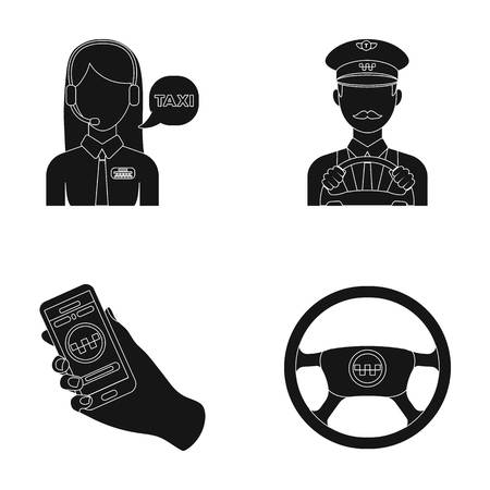 dispatcher: A taxi driver with a microphone, a taxi driver at the wheel, a cell phone with a number, a car steering wheel. Taxi set collection icons in black style vector symbol stock illustration web. Illustration