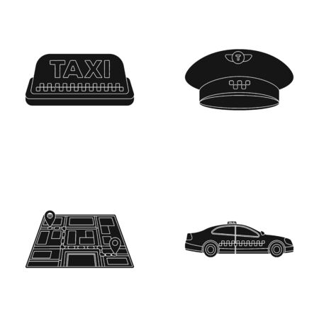 fare: Yellow taxi inscription, a cap with a taxi badge, a map with a mark, a car with checkers. Taxi set collection icons in black style vector symbol stock illustration web. Illustration