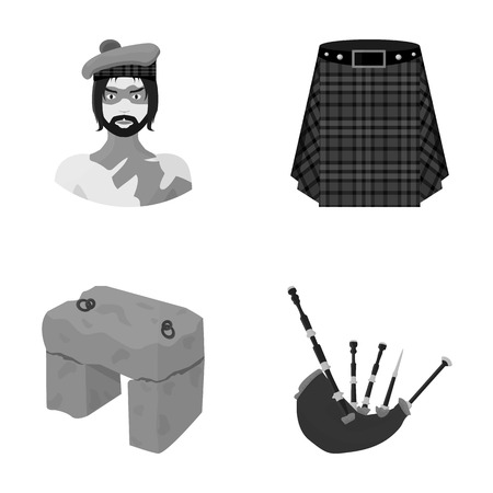 clan: Highlander, Scottish Viking, tartan, kilt, scottish skirt, scone stone, national musical instrument of bagpipes. Scotland set collection icons in monochrome style vector symbol stock illustration web.