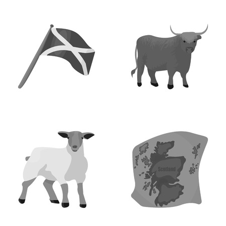 The state flag of Andreev, Scotland, the bull, the sheep, the map of Scotland. Scotland set collection icons in monochrome style vector symbol stock illustration web.