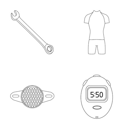 fitting: A wrench, a bicyclists bone, a reflector, a timer.Cyclist outfit set collection icons in outline style vector symbol stock illustration web.