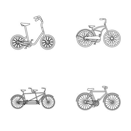 Childrens bicycle, a double tandem and other types.Different bicycles set collection icons in outline style vector symbol stock illustration web.
