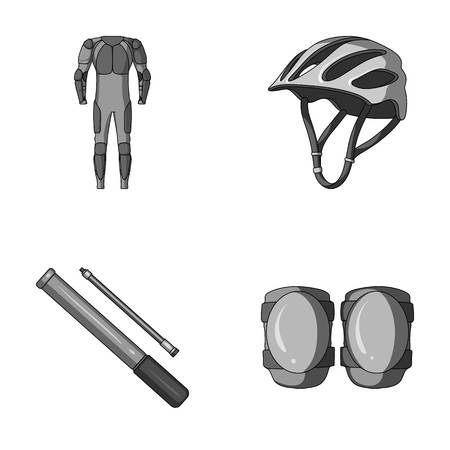 Full-body suit for the rider, helmet, pump with a hose, knee protectors.Cyclist outfit set collection icons in monochrome style vector symbol stock illustration web. Çizim