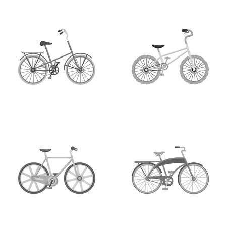 Childrens bicycle and other kinds.Different bicycles set collection icons in monochrome style vector symbol stock illustration web. Ilustracja
