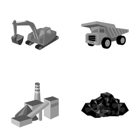 excavate: Excavator, dumper, processing plant, minerals and ore.Mining industry set collection icons in monochrome style vector symbol stock illustration web. Illustration