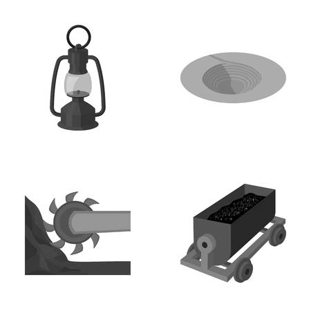 A miners lamp, a funnel, a mining combine, a trolley with ore.Mining industry set collection icons in monochrome style vector symbol stock illustration web.