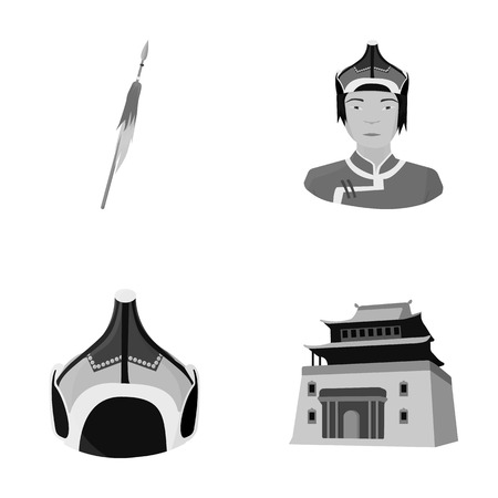 Military spear, Mongolian warrior, helmet, building.Mongolia set collection icons in monochrome style vector symbol stock illustration web.