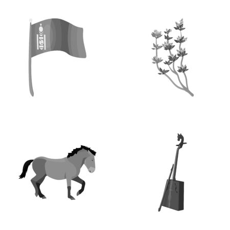 National flag, horse, musical instrument, steppe plant. Mongolia set collection icons in monochrome style vector symbol stock illustration web.