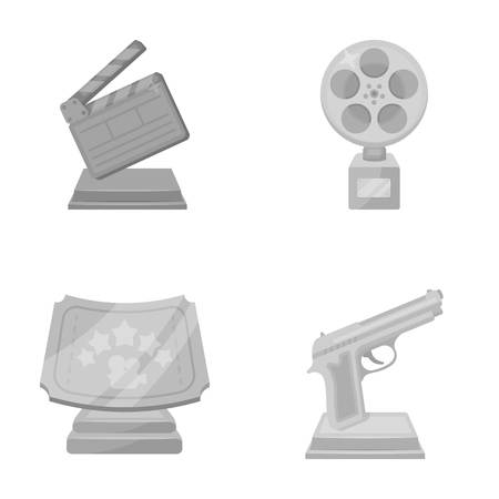 Gold pistol, silver prize for the best supporting role and other prizes.Movie awards set collection icons in monochrome style vector symbol stock illustration web.
