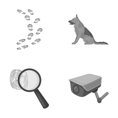 Traces on the ground, service shepherd, security camera, fingerprint. Prison set collection icons in monochrome style vector symbol stock illustration web. Illustration