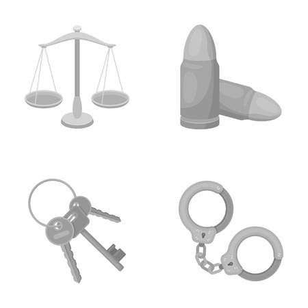 punish: Scales of justice, cartridges, a bunch of keys, handcuffs.Prison set collection icons in monochrome style vector symbol stock illustration web. Illustration