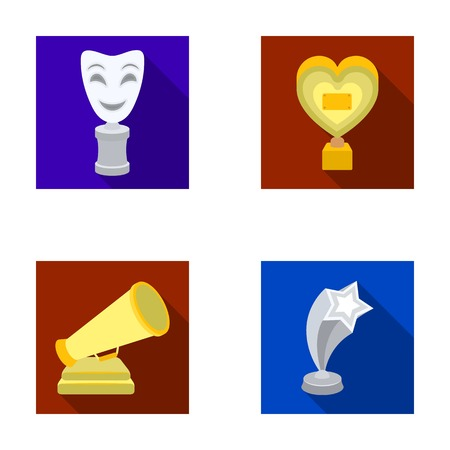 star award: White Mask Mime for the best drama, a prize in the form of the heart and other prizes.Movie awards set collection icons in flat style vector symbol stock illustration web.