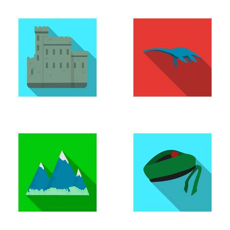 Edinburgh Castle, Loch Ness Monster, Grampian Mountains, national cap balmoral,tam o'shanter. Scotland set collection icons in flat style vector symbol stock illustration web.