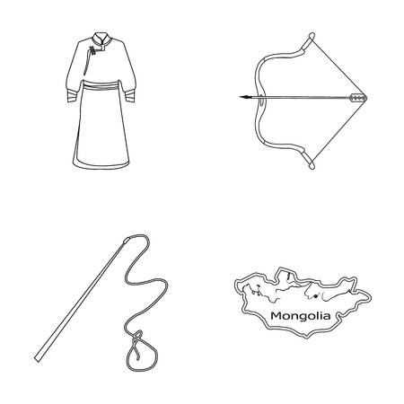 .mongol dressing gown, battle bow, theria on the map, Urga, Khlyst. Mongolia set collection icons in outline style vector symbol stock illustration web. Çizim