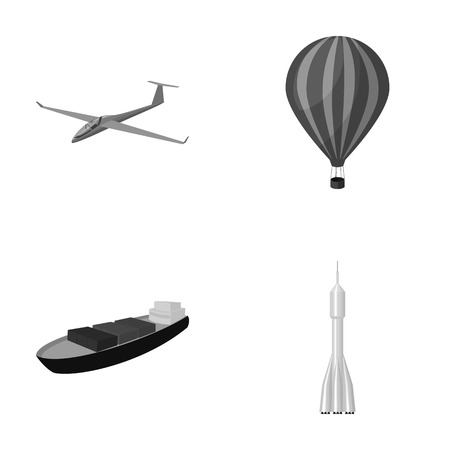 co: A drone, a glider, a balloon, a transportation barge, a space rocket transport modes. Transport set collection icons in monochrome style vector symbol stock illustration web.