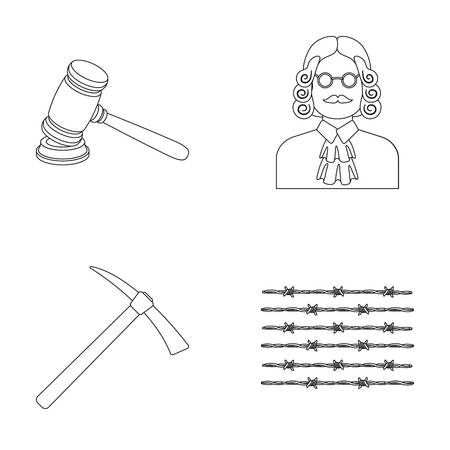 barrage: Judge, wooden hammer, barbed wire, pickaxe. Prison set collection icons in outline style vector symbol stock illustration web. Illustration