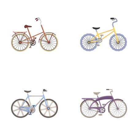 Childrens bicycle and other kinds.Different bicycles set collection icons in cartoon style vector symbol stock illustration web.