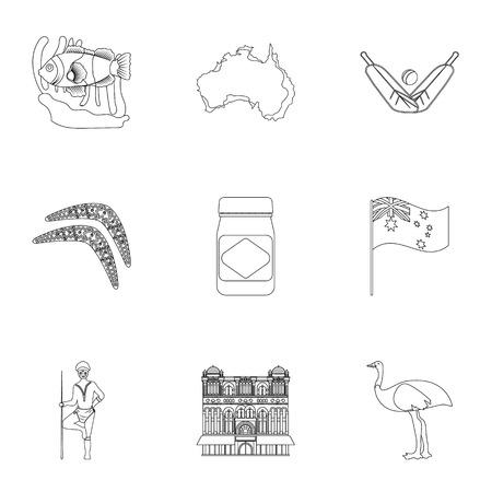 tv tower: National symbols of australia. Web icon on Australia theme.Australia icon in set collection on outline style vector symbol stock illustration.