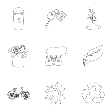 tree isolated: The ecology of the earth, the problems of ecology, ways to combat the ravages.Bio and Ecology icon in set collection on outline style vector symbol stock illustration. Illustration