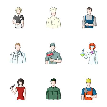 phonendoscope: Doctor, worker, military, artist and other types of profession.Profession set collection icons in cartoon style vector symbol stock illustration web. Illustration