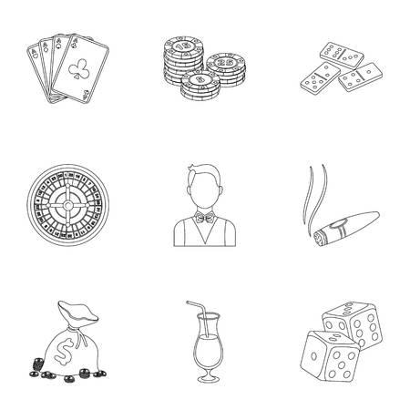 기호 카지노 게임의 집합입니다. 돈을 위해 도박. 칩, 도미노, 카지노. 카지노 및 도박 아이콘 집합 개요 스타일 벡터 기호 재고 일러스트 컬렉션.