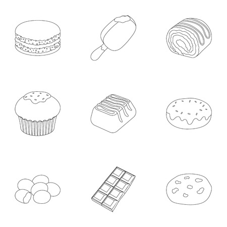 A set of chocolate sweets. Chocolate products for people. Chocolate desserts icon in set collection on outline style vector symbol stock illustration. Çizim