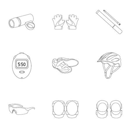 bicycle pump: Icons of Cycling, bike. Set for bike, backpack protection, repair, form. Cyclist outfit icon in set collection on outline style vector symbol stock illustration. Illustration