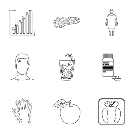 A set of icons about diabetes mellitus. Symptoms and treatment of diabetes. Diabetes icon in set collection on outline style vector symbol stock illustration. Illustration