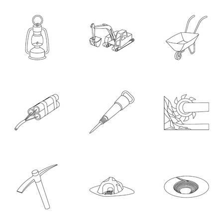 Set von Icons über die Mine. Die Gewinnung von Kohle, Mineralien, Schutz der Bergleute. Verarbeitung von Kohle.Mine Industrie-Symbol in Set-Auflistung auf Outline-Stil Vektor-Symbol stock Illustration.