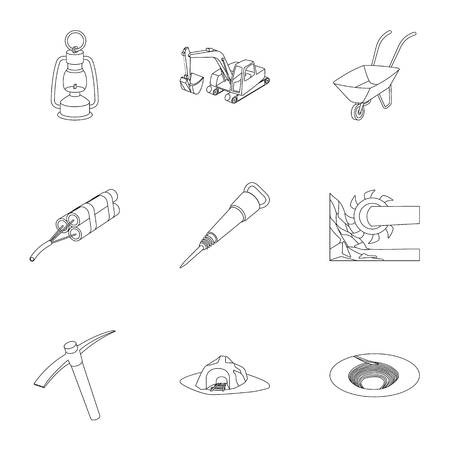 Set of icons about the mine. The extraction of coal, minerals, protection of the miners. Processing of coal.Mine industral icon in set collection on outline style vector symbol stock illustration. Illustration