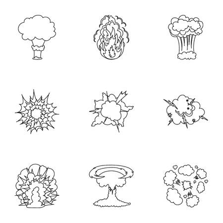 A set of icons about the explosion. Various explosions, a cloud of smoke and fire.Explosions icon in set collection on outline style vector symbol stock illustration. Illustration