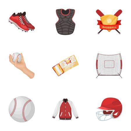 Bal, helm, vleermuis, uniform en andere honkbalattributen. Honkbal stel collectie iconen in cartoon stijl vector symbool stock illustratie web. Stock Illustratie