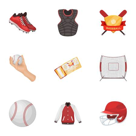 Ball, helmet, bat, uniform and other baseball attributes. Baseball set collection icons in cartoon style vector symbol stock illustration web.