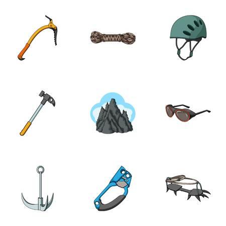 Ascia di ghiaccio, top conquistata, montagne nelle nuvole e altre attrezzature per l'alpinismo. Icone di montaggio set di raccolta in stile vettoriale simbolo vettoriale stock illustrazione web.
