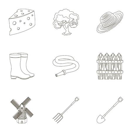 Set of pictures about gardening. Village, vegetable garden, garden, ecology.Farm and Gardening icon in set collection on outline style vector symbol stock illustration. Ilustração