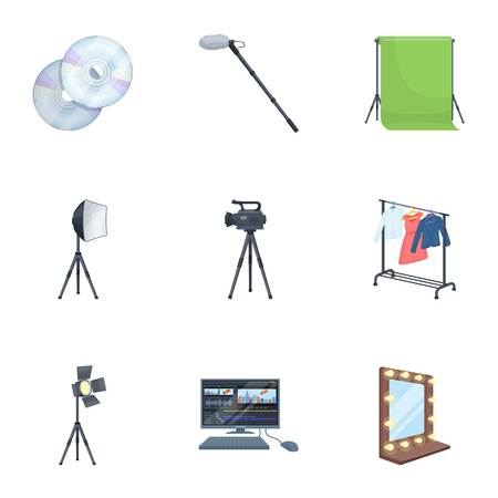 clothes rail: A movie camera, a floodlight, a chromakey and other equipment for the cinema.Making movie set collection icons in cartoon style vector symbol stock illustration web. Illustration