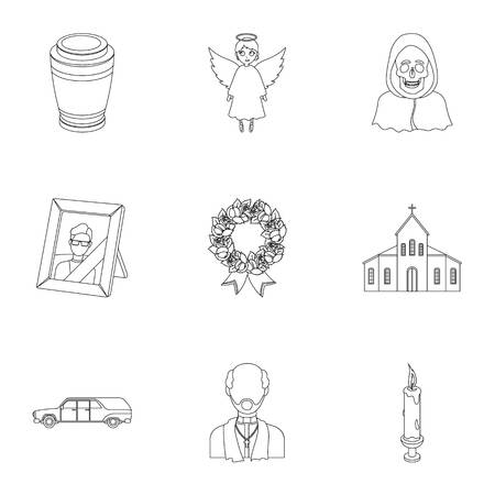 burial: Funeral ceremony, cemetery, coffins, priest.Funeral ceremony icon in set collection on outline style vector symbol stock illustration.