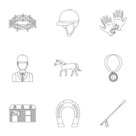 racing: Races on horseback, hippodrome. Horse racing and equipping riders.Hippodrome and horse icon in set collection on outline style vector symbol stock illustration.