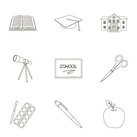 cut paper: Set of pictures about the school. Study training. Supplies for school.Outfit of the student. School and eduacation icon in set collection on outline style vector symbol stock illustration.