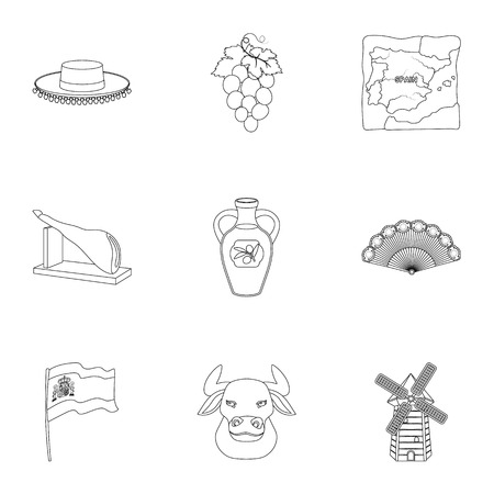 sights: A set of pictures about Spain. Sights of Spain, gypsies, guitar, dances.Spain country icon in set collection on outline style vector symbol stock illustration. Illustration