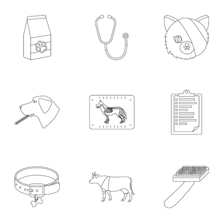 dog: Vet clinic. Treatment of sick animals. Hospital for animals.Vet clinic icon in set collection on outline style vector symbol stock illustration.