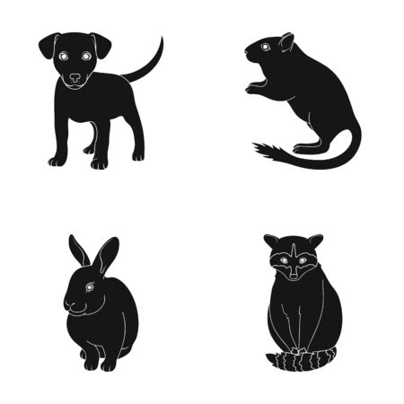 Puppy, rodent, rabbit and other animal species.Animals set collection icons in black style vector symbol stock illustration web.