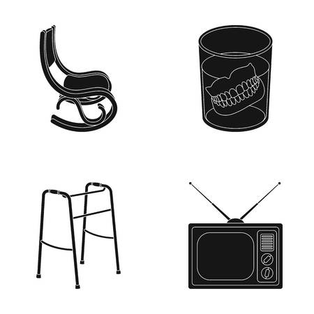 Denture, rocking chair, walker, old TV.Old age set collection icons in black style vector symbol stock illustration web.
