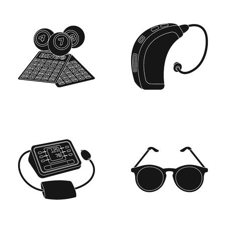 tonometer: Lottery, hearing aid, tonometer, glasses.Old age set collection icons in black style vector symbol stock illustration web.