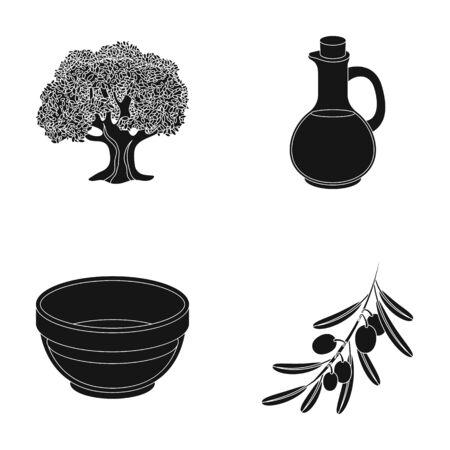 Un olivo, una rama con aceitunas, una vasija y una jarra de aceite.