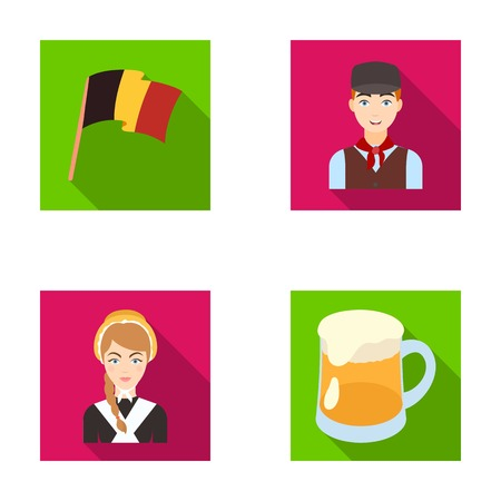 interesting: National flag, belgians and other symbols of the country.Belgium set collection icons in flat style vector symbol stock illustration web. Illustration