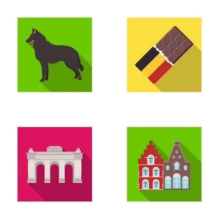 Chocolate, cathedral and other symbols of the country.Belgium set collection icons in flat style vector symbol stock illustration web.