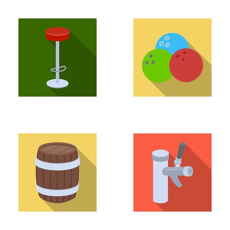 ale: Restaurant, cafe, chair, bowling ball .Pub set collection icons in flat style vector symbol stock illustration web.