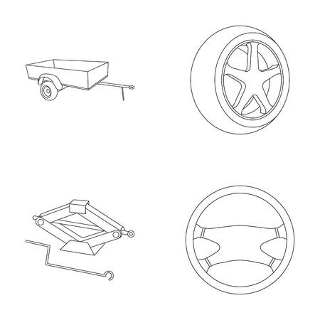 tire cover: Caravan, wheel with tire cover, mechanical jack, steering wheel, Car set collection icons in outline style vector symbol stock illustration web.