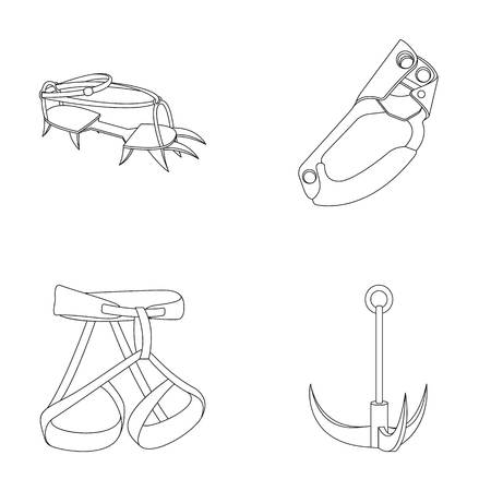Hook, mountaineer harness, insurance and other equipment.